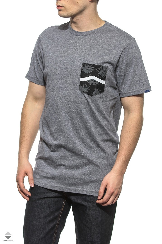 583390f1db63e3 Vans Side Stripe Pocket T-shirt Grey Tonal Palm VA2XCQLTV