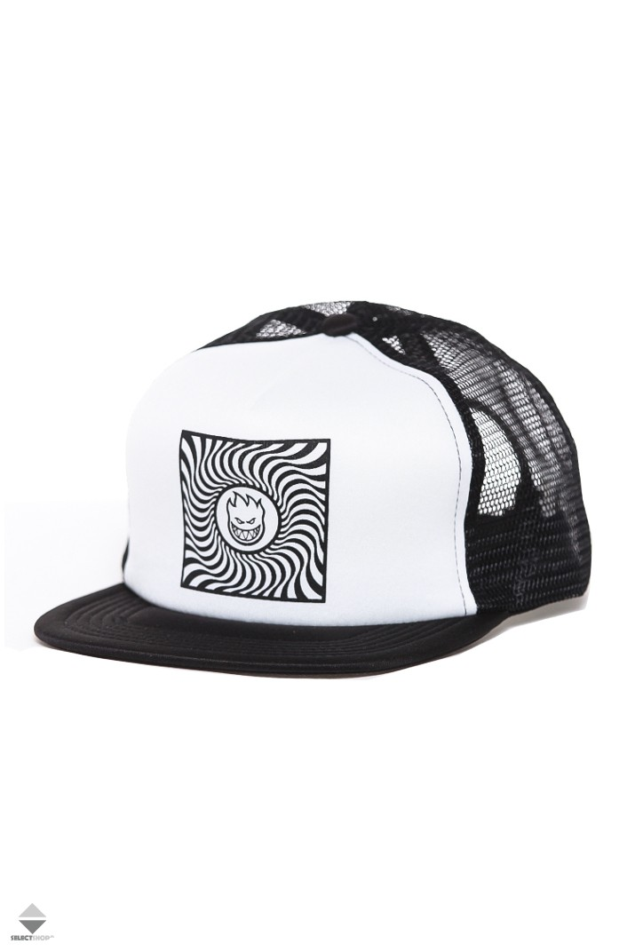 f7fddf09 Spitfire Square Swirl Mesh Trucker Hat 50010137A00 Black White