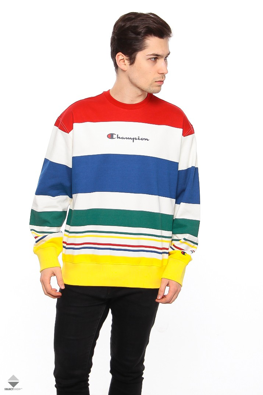97a44abf551a Champion Striped Logo Crewneck Multicolor 212792 WL009